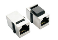 RJ45 IN LINE COUPLER WITH HOOK SHIELD 8P8C